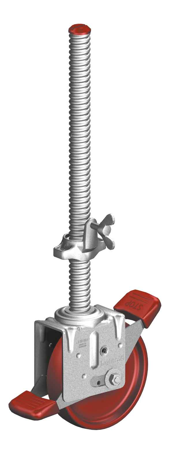 Height adjustable scaffold castor with brake