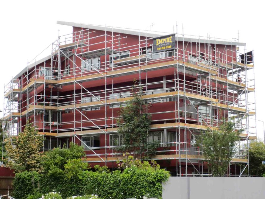 Scaffold at Christchurchs apartments was erected very quickly and efficiently