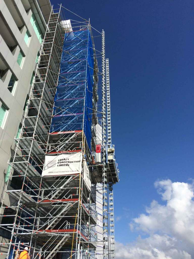 Scaffolding lift on residential apartment block