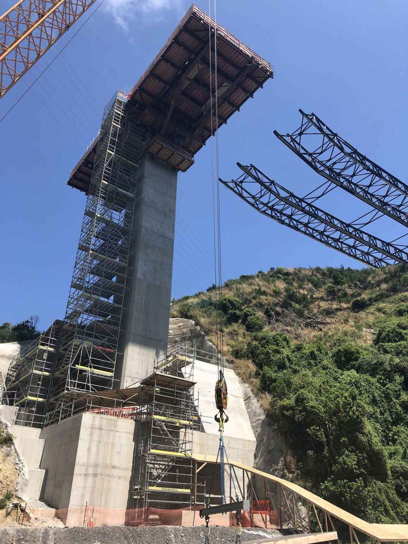 WorkZone used Layher Aluminium Platform Stairs to provide contractors safe access to Transmission Gully, Bridge 20