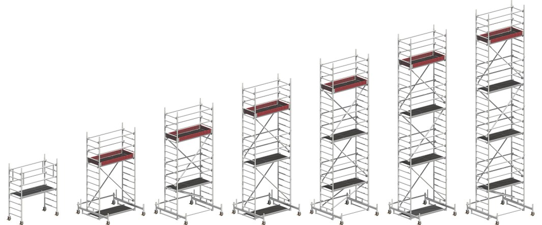 Uni Light Rolling Tower working height range from 2.36m to 9.26m