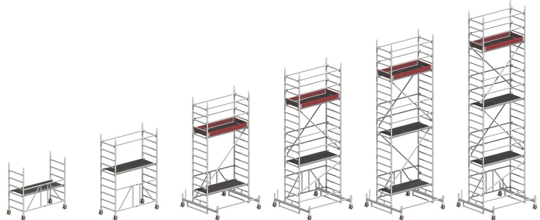 Zifa Rolling Tower working height range from 2.86m to 7.76m