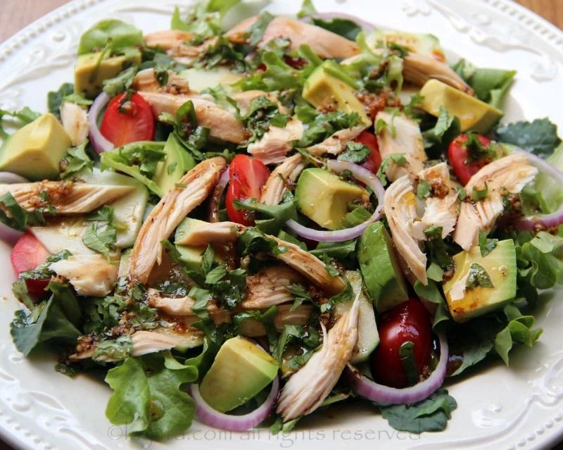 Ensalada de verduras y pollo con aderezo balsmico  Recetas en espaol
