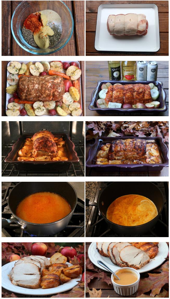 Recette et photos de la longe de porc rôti au cidre, cuite au cidre et pommes mûres. Servi avec une sauce au cidre.