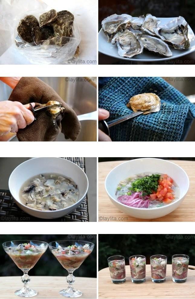 Préparation du ceviche d'huîtres
