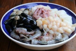 Mezcla de mariscos para espaguetis o tallarines