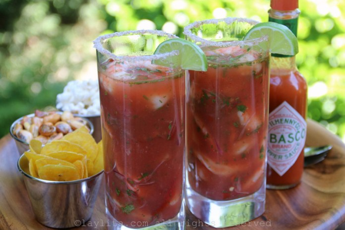 Serve the Bloody Mary cocktails with your choice of garnishes