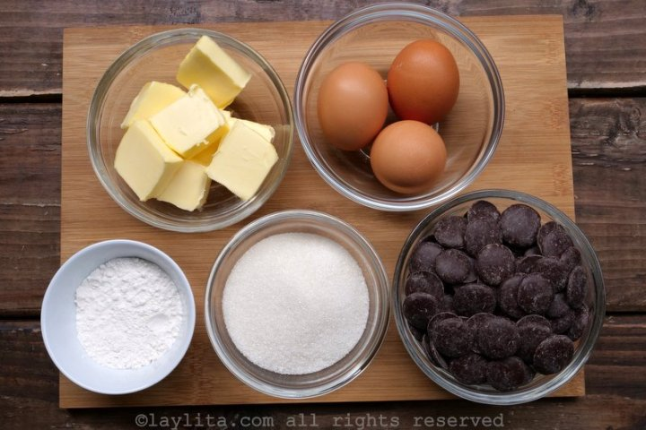Ingredients for molten chocolate cake or moelleux au chocolat