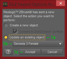 GoZ Import Options