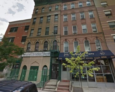 A Google Street view image shows a before picture of the scene of a building collapse in Upper Manhattan
