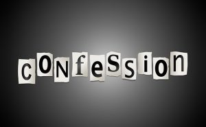 Illustration depicting cutout printed letters arranged to form the word confession.