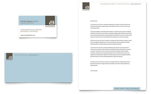 Architect Business Card  Letterhead Template  Word