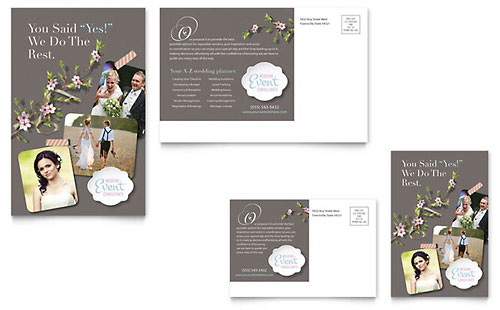 Wedding & Event Planning Postcard Templates Word