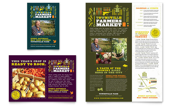 Farmers Market Flyer & Ad Template Word & Publisher