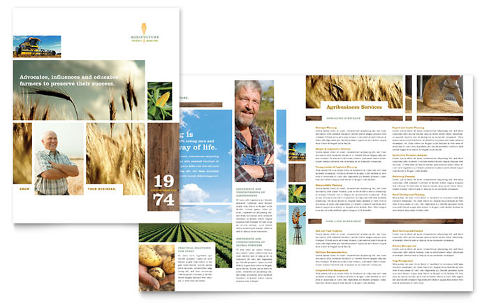Farming & Agriculture Brochure Template Word & Publisher