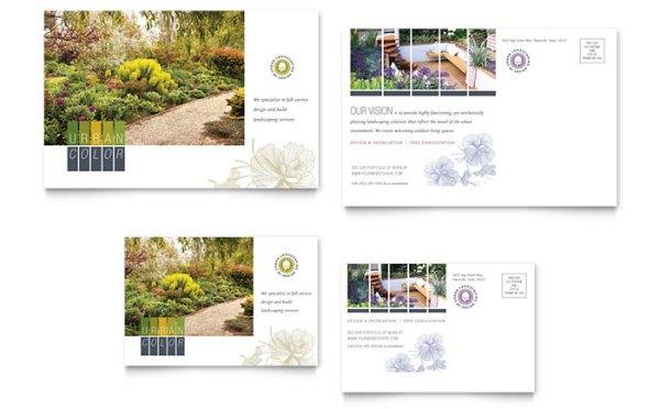 urban landscaping postcard template