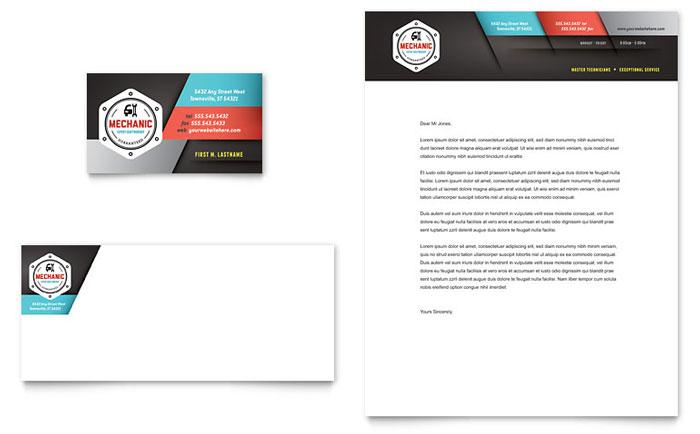 Auto Mechanic Business Card & Letterhead Template Word