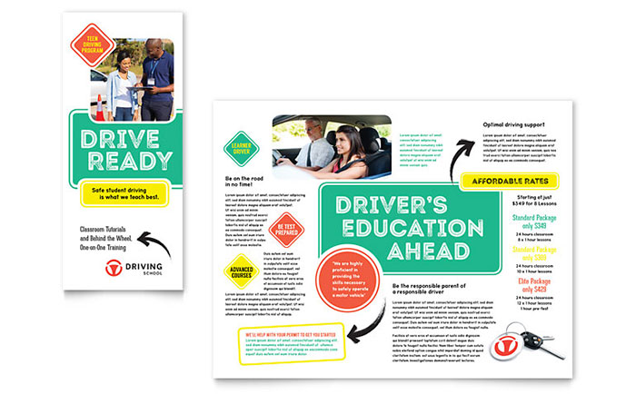 Driving School Brochure Template Word & Publisher