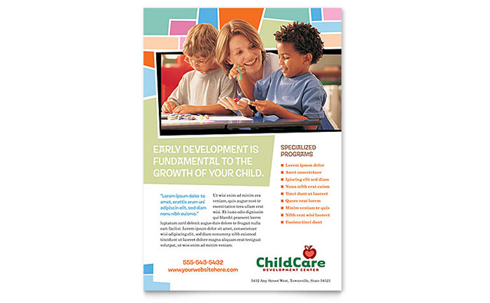 Preschool Kids & Day Care Flyer Template Word & Publisher