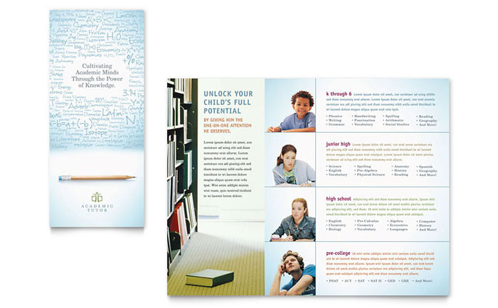 Academic Tutor & School Tri Fold Brochure Template Word
