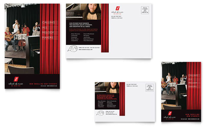 Music School Postcard Template Word & Publisher