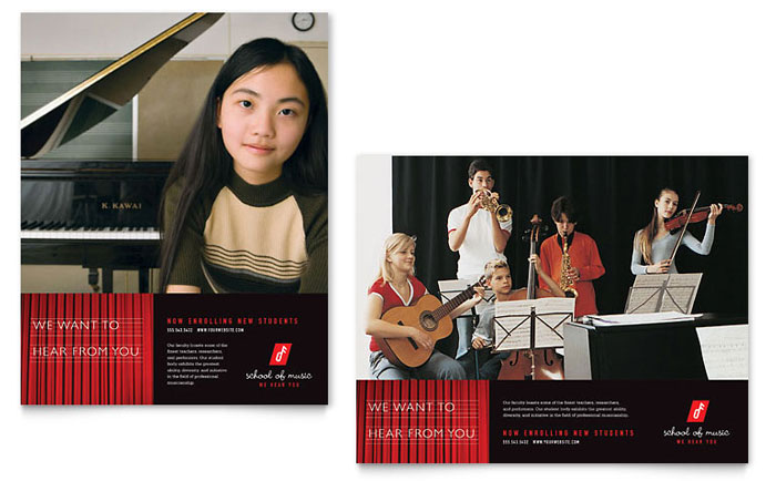 Music School Poster Template Word Publisher