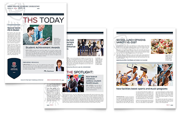 High School Newsletter Template Word & Publisher
