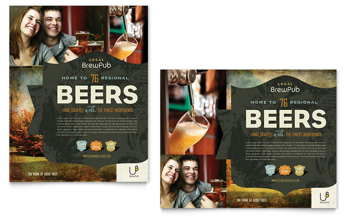 Brewery  Brew Pub Poster Template  Word  Publisher