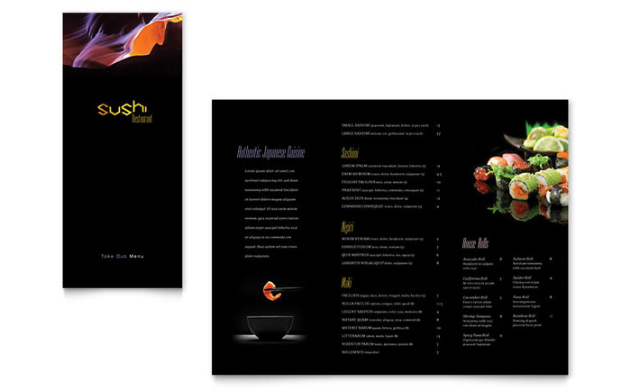 Sushi Restaurant Take Out Brochure Template Word & Publisher