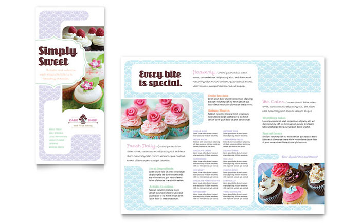 Bakery & Cupcake Shop Tri Fold Brochure Template Word & Publisher