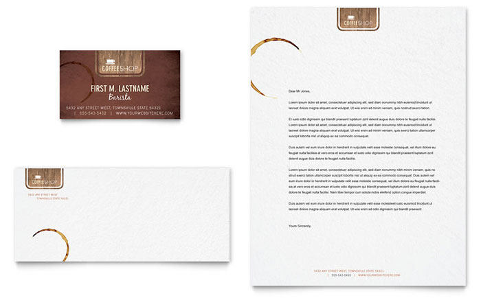 Coffee Shop Business Card & Letterhead Template Word
