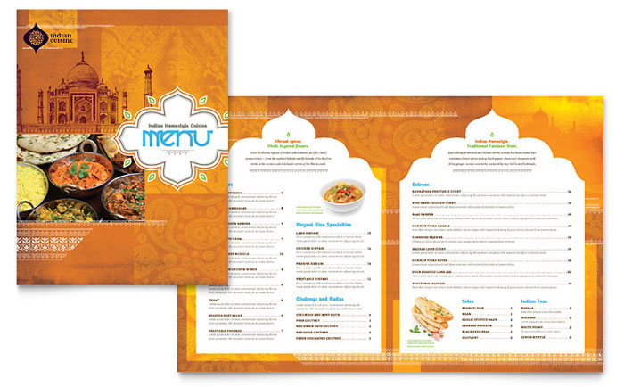 Indian Restaurant Menu Template Word & Publisher
