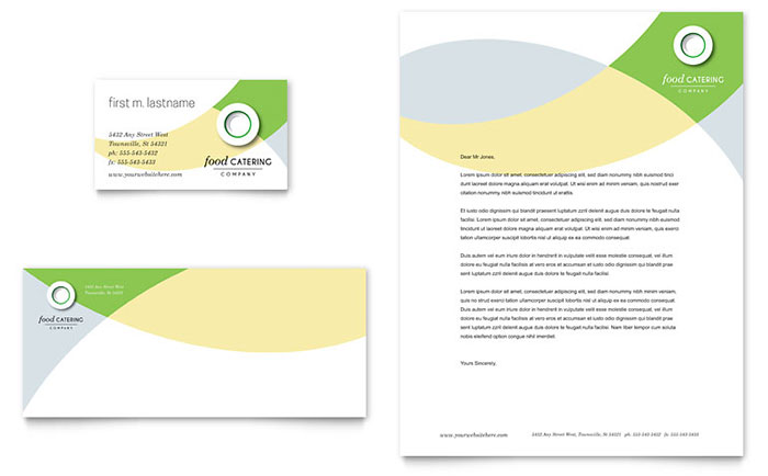 Food Catering Business Card & Letterhead Template Word