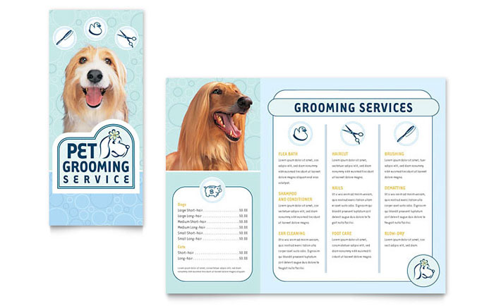 Pet Grooming Service Brochure Template Word & Publisher
