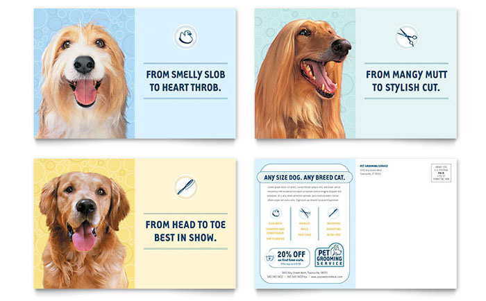 Pet Grooming Service Postcard Template Word Amp Publisher