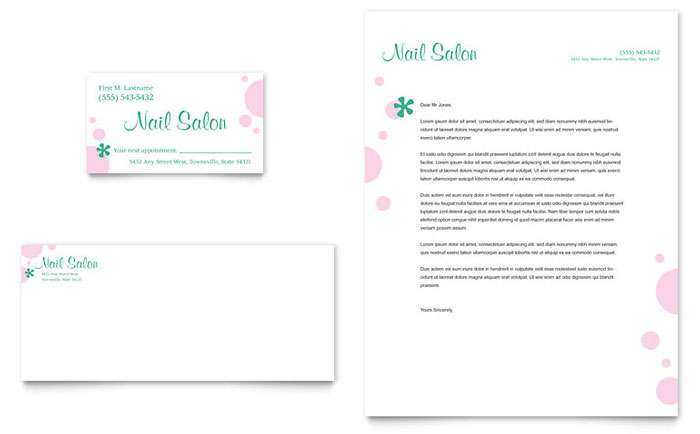 Nail Salon Business Card & Letterhead Template Word