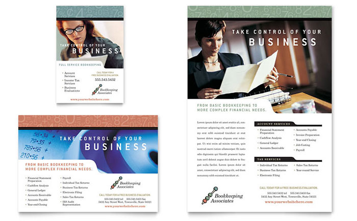 Bookkeeping & Accounting Services Flyer & Ad Template Word & Publisher