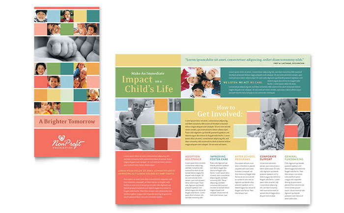 Non Profit Association For Children Brochure Template Word & Publisher
