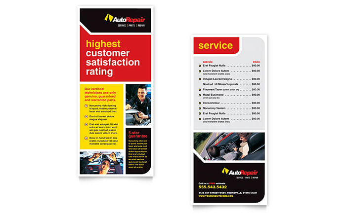 Auto Repair Rack Card Template Word Amp Publisher