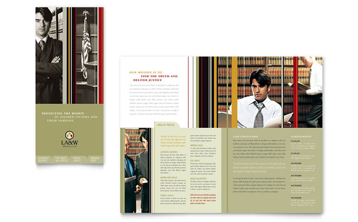 Lawyer & Law Firm Tri Fold Brochure Template Word & Publisher