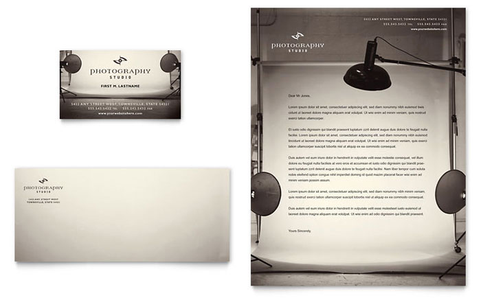 Photography Studio Business Card Letterhead Template Word Publisher