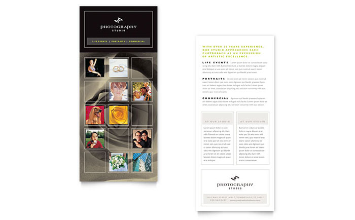 Photography Studio Rack Card Template Word & Publisher
