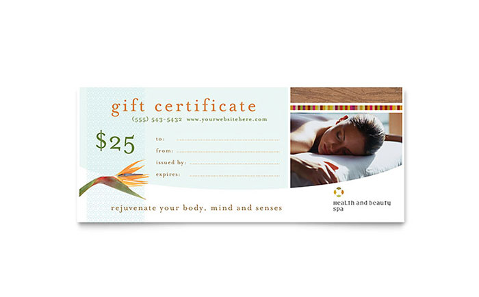 Health Amp Beauty Spa Gift Certificate Template Word