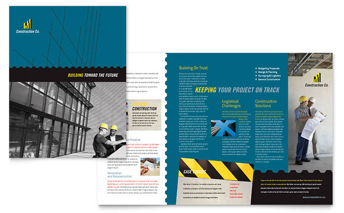 Industrial  Commercial Construction Brochure Template  Word  Publisher