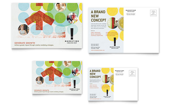 Marketing Consultant Postcard Template Word & Publisher