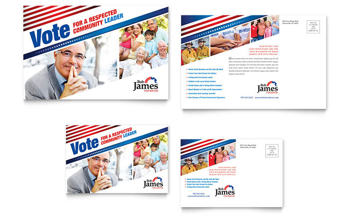 Political Campaign Postcard Template Word & Publisher