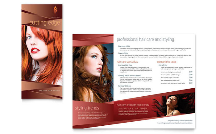 Hair Stylist & Salon Brochure Template Word & Publisher
