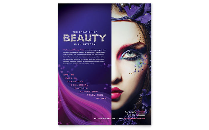 Makeup Artist Flyer Template  Word  Publisher