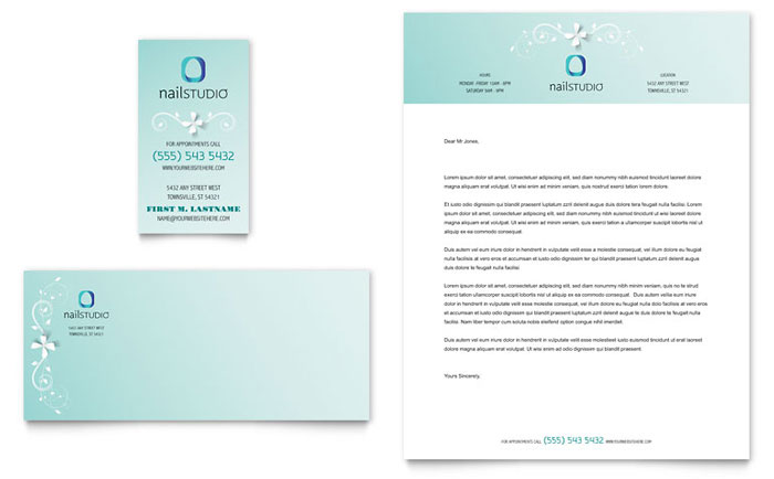 Nail Technician Business Card & Letterhead Template Word