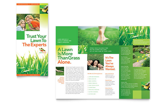 Lawn Maintenance Tri Fold Brochure Template  Word  Publisher